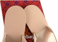 Tory Burch T Thong MANON Sandals Blush Leather Flat Shoes Flip Flops 9.5 Slides