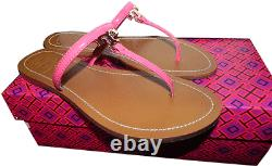 Tory Burch T Thongs Sandals Pink Patent Leather Flat Shoe Flip Flop 6.5 Slide