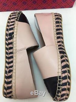 Tory Burch TB Colorblock Platform Espadrille Seashell Pink/Navy Size 7 NIB $228