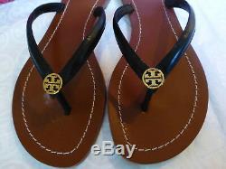 Tory Burch TERRA Black Logo Flip Flop Thong Sandal Size 8 New In Box