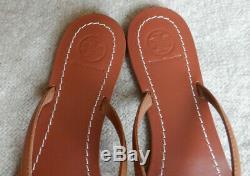 Tory Burch TERRA Royal Tan Logo Flip Flop Thong Sandal Size 10 New In Box