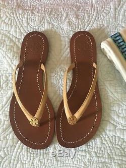 Tory Burch TERRA Sun Beige Logo Flip Flop Thong Sandal Size 6 New In Box