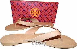 Tory Burch Thong Monroe Sandals Blush Leather Flat Shoes Flip Flops 13 Slides