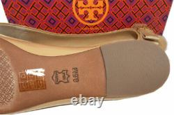 Tory Burch Trudy Reva Ballerina Flats Beige Patent Leather Bow Ballet Shoes 8.5