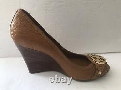 Tory Burch Tumbled Leather Open Toe Wedge Shoes Tan Size 9.5 M