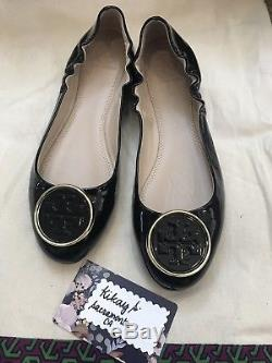 Tory Burch Twiggie Logo Patent Ballerina Flats Shoes Size 8