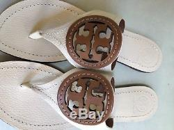 Tory Burch Two Tone Off White Brown Miller Thong Sandals Leather Size 9