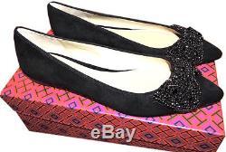Tory Burch Vanessa Ballerina Flat Pointy Toe Ballet Shoe Crystals Bow 10- 40