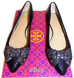 Tory Burch Vanessa Ballerina Flat Pointy Toe Ballet Shoe Crystals Bow 7 -37