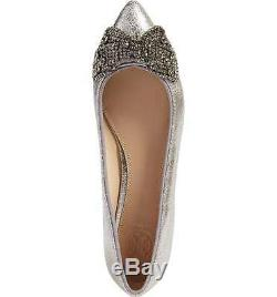 Tory Burch Vanessa Ballerina Flat Pointy Toe Ballet Shoe Crystals Bow Silver 6.5