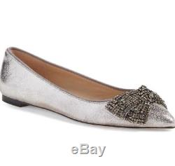 Tory Burch'Vanessa' Embellished Metallic Bow Flats size 9M Silver