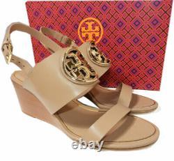 Tory Burch Wedge Sandals Metal Miller Light Makeup Shoes Slides Clogs 5.5 36
