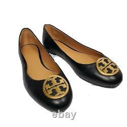 Tory Burch Women Ballet Flats Black Leather Benton Shoes Gold Logo Size 9 new