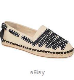 Tory Burch Women's Beige Black Grosgrain Logo Espadrilles Shoes Flats