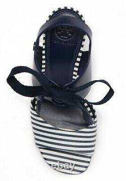 Tory Burch Women's Maritime Leather Wedge Heel Sandals Shoes Blue / White Size 8