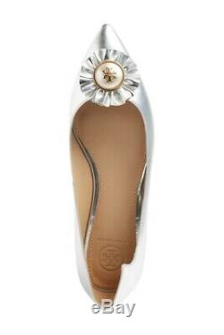 Tory Burch Women's Melody Pointy Toe Flat Shoes Silver 9 M Us