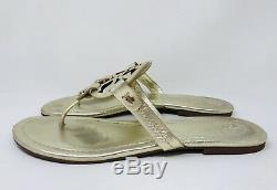 Tory Burch Women's Miller Leather Thong Sandals Size 8.5 Spark Gold MSRP $198