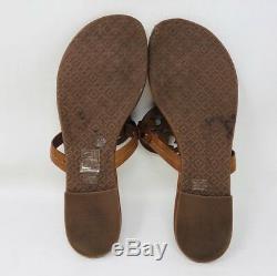Tory Burch Women's Miller Thong Sandals Size 8.5 Vintage Vachetta Leather