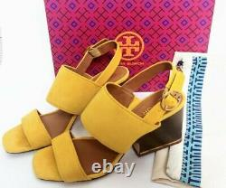 Tory Burch Women's Selby BLOCK Heel Sandals SHOES 8 yellow Suede EXCELLENT
