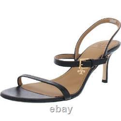 Tory Burch Womens Black Leather Dress Sandals Shoes 7.5 Medium (B, M) BHFO 8697