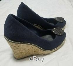 Tory Burch Womens Blue Canvas Peep-Toe Rope Platform Wedges Heels Shoes 8.5