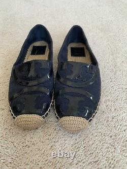 Tory Burch Womens Espadrille Flat Shoes Black Signature Logo Canvas Slip Ons 7.5