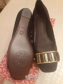 Tory Burch Womens Martha Ballet Flats Shoes Size 7.5 Black Suede Leather Chain