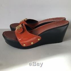 Tory Burch Womens Orange Wedge Shoes Slides Size 8.5 8 1/2