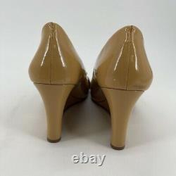 Tory Burch Womens Peep Toe Wedge Heels Shoes Mustard Patent Gold Logo Bow 7.5 M