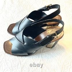 Tory Burch Womens Shoes Black Bleecker Slingback Leather Sandals Size 8.5