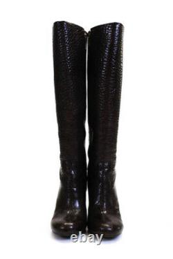 Tory Burch Womens Wedge Dabney Knee High Boots Shoes Brown pubbled Leather 9