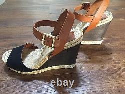 Tory Burch Wood Wedge Espadrille Sandals. Shoe size 8