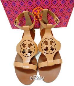 Tory Burch ZOEY Sandal Cut Out Leather Logo Shoe Beige Ankle Strap Shoe Sz 8