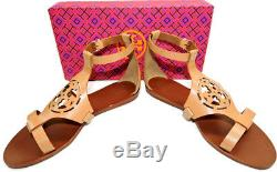 Tory Burch ZOEY Sandal Cut Out Leather Logo Shoe Gold Ankle Strap Shoe Sz 9