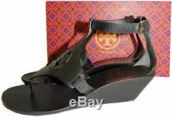 Tory Burch ZOEY Sandals Cut Out Leather Logo Shoes Wedge Ankle Strap Slides 8.5