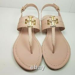 Tory Burch women T-strap Flat Sandals Seashell Pink leather shoes Everly 9 new