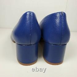 Tory Burch women pumps shoes Benton blue navy Leather heel round logo 7.5 new