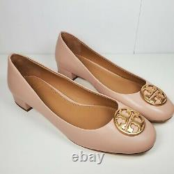Tory Burch women pumps shoes Chelsea nude Leather Block Heel Size US 8.5 new