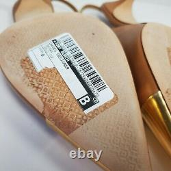 Tory Burch women shoes Penelope Slingback Pumps heels tan gold toe sz 8 new