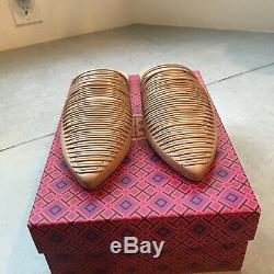 Tory burch SIENHA PLAT SLIDE shoe 7.5 new with box natural vachetta /multi