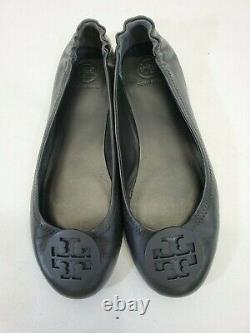 WN Women's Size 8 Tory Burch Minnie Travel Ballet Flat Smooth Leather Shoes Blk