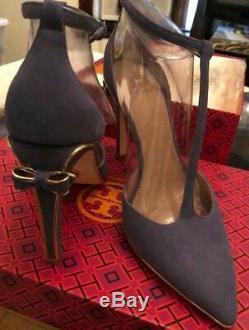 Women's Tory Burch Belleville Lancaster Suede/Metallic Shoes-Size 7.5 Brand New