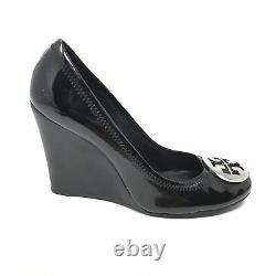 Women's Tory Burch Logo Wedge Pump Heels Shoes Size 8 Black Patent Leather AE14