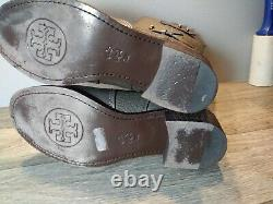 Women's Tory Burch Mid Calf Boots Shoes Size 7 M Gray Pebbled Leather Zip Up