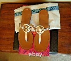 Women's Tory Burch Rose Gold Metallic / Tan Miller Sandals Shoes 6.5