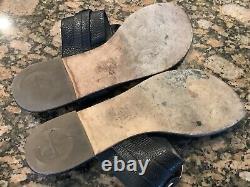 Womens Size 11 Tory Burch Sandals Shoes Flip-Flops Black Pebble Grain Leather
