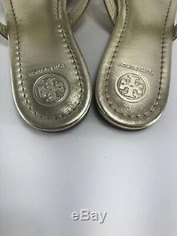 Womens Tory Burch Miller Sandals Metallic Leather Sparkle Gold Size 8.5